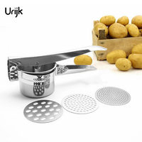 Urijk Potato Mashers Ricers Kitchen Cooking Tools Stainless Steel Pressure Mud Puree Vegetable Press Maker Garlic