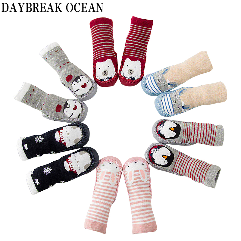 Newborns Baby For Walking Learning Floor Socks 0-30M Thicken Warm Terry Socks For Toddler Autumn Kids Infant Boys Girls Socks