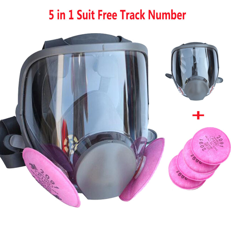 5 In 1 Suit Industry Painting Spraying Gas Mask same For 3 M 6800 Gas Mask Full Face Facepiece Respirator 9 in 1 suit half face gas mask respirator painting spraying dust mask for 3 m 6200 n95 pm2 5 gas mask