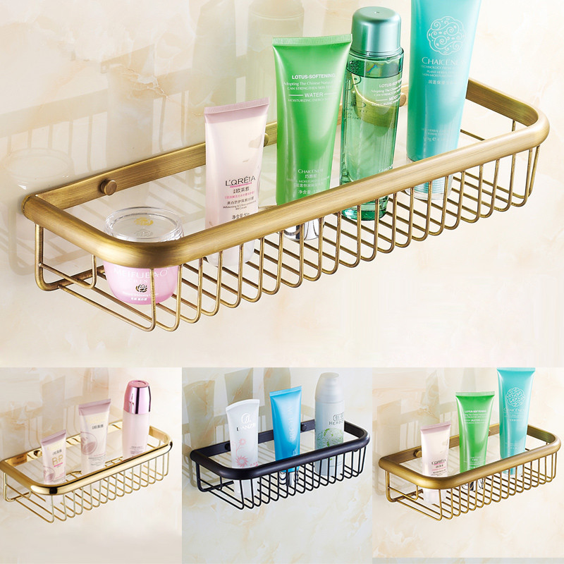 Antique Brass Bathroom Basket Shelf Completely Square Rack Thick 30 Cm 45 Wide Angle Frame Wall Mounted Bathroom Accessories Set