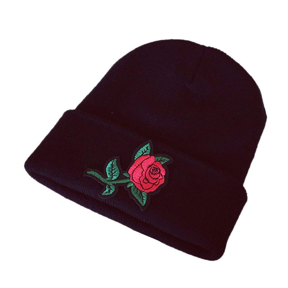 New Fashion Men Women Rose Embroider Black Beanie Knit Hat Ski Warm Winter Cuff Lovers Cap Men's Skullies & Beanies Men's Hats
