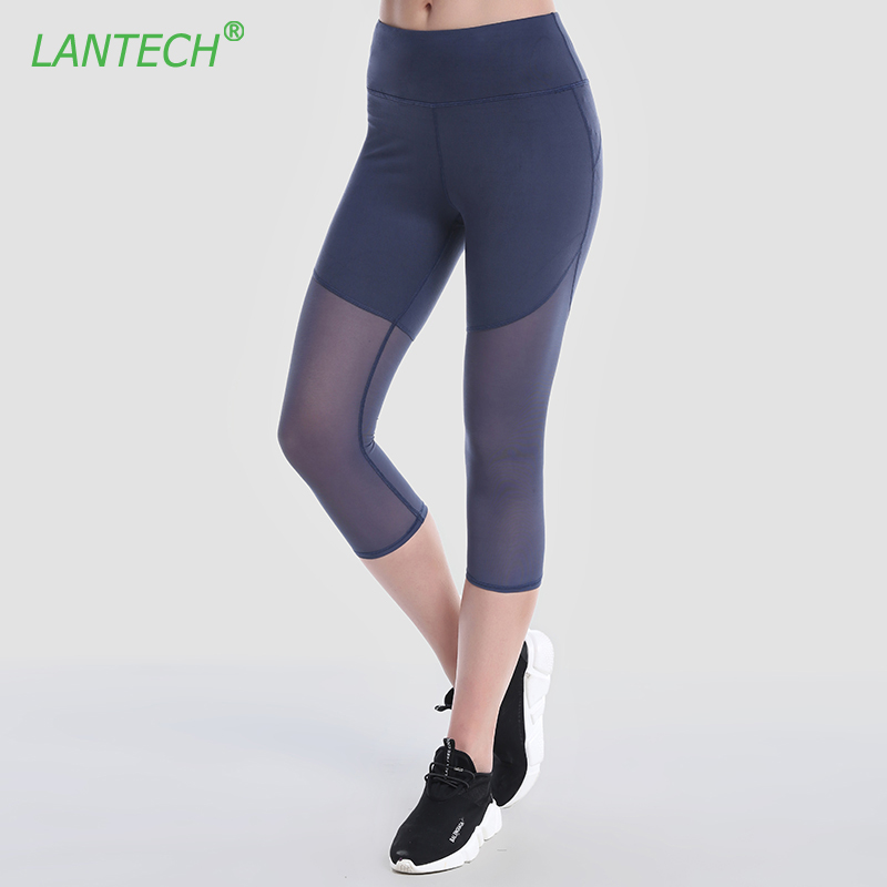 468161db60 LANTECH Women Capri Pants Jogger Fitness Exercise Pants Trousers  Compression Leggings Breathable High Waist Pocket Mesh