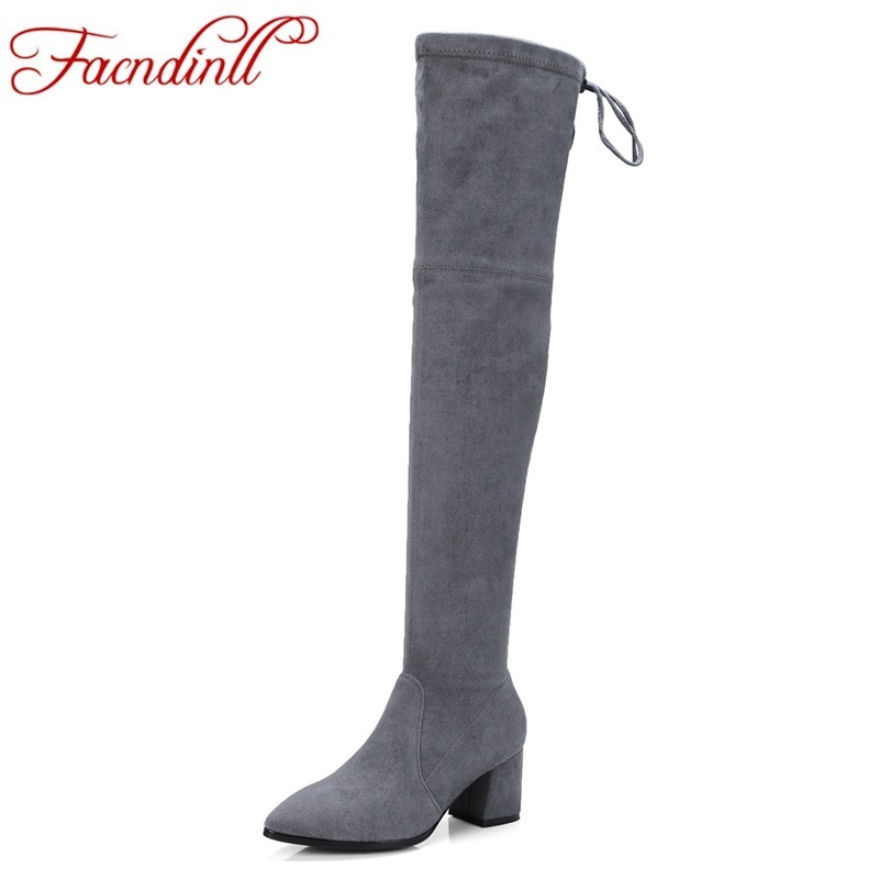 FACNDINLL sexy over the knee boots square high heel women boots lady lace up stretch fabric fashion boots black shoes plus size vallkin 2018 lace up women boots rhinestone square high heel over the knee boots stretch fabric wedding ladies boots size 34 43