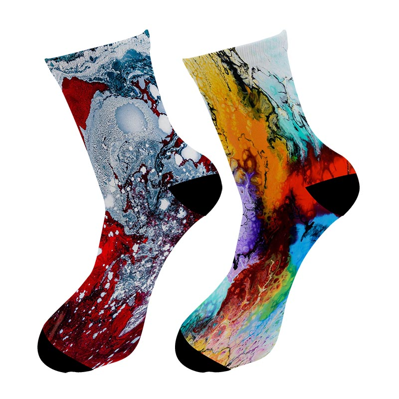 Fashion New 3D Printed Street Art Painting Crew Socks Men Graffiti Oil Painting Long Socks Street Trend Men's Dress Tube Socks