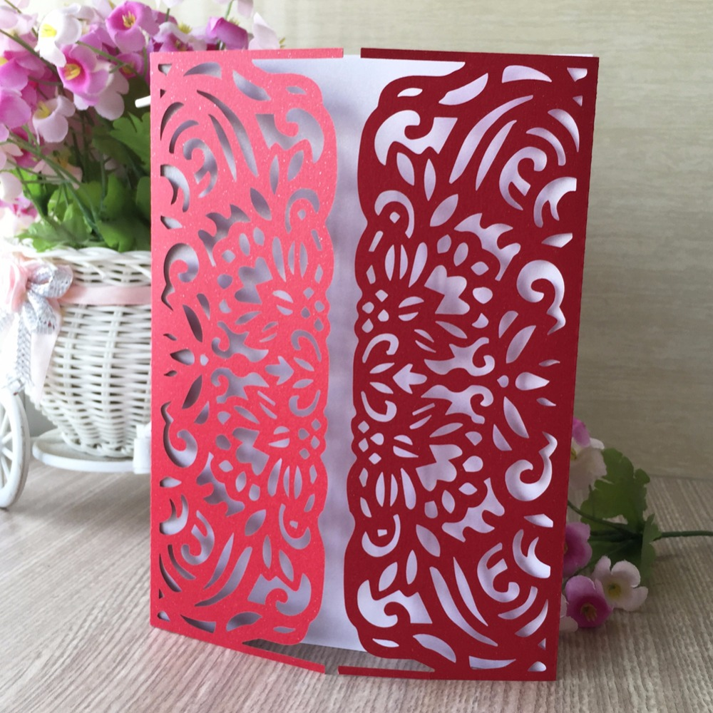 12pcs laser cut pearl paper of romantic special fold wedding ...