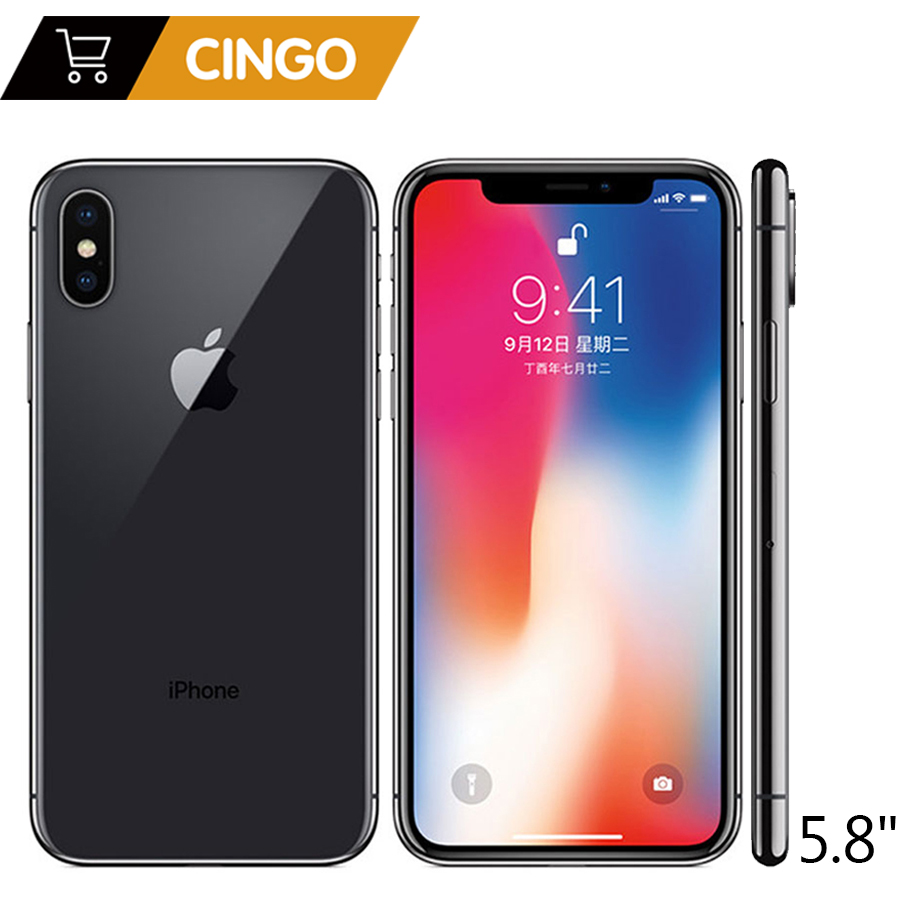 Original Da Apple iphone X Face ID 5.8 polegada 64 3 gb RAM gb/256 gb ROM Núcleo Hexa iOS a11 12MP Dual Câmera Traseira 4g LTE Desbloqueio iphone x