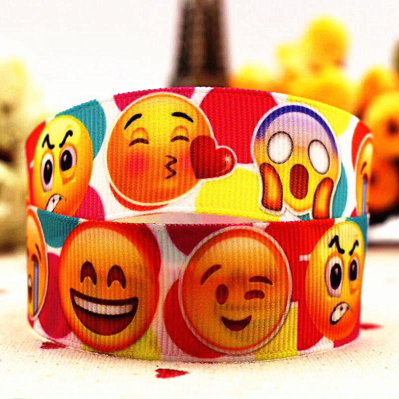 Cartoon expression package grosgrain ribbons (22 mm) 7/8 children hair bow 10 yards DIY production gifts holiday decorations