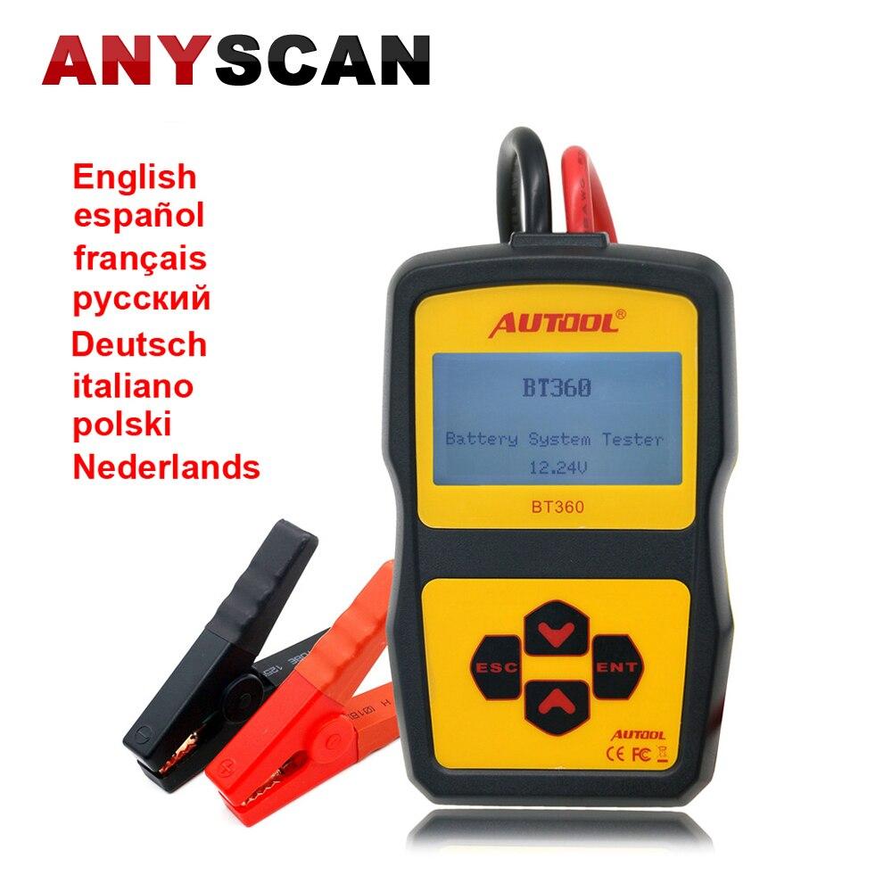 Prix pour Système de Batterie de voiture Testeur AUTOOL BT360 12 V Soutien 2000 EN/CCA Batterie Système De Charge Testeur Multi-Langue espagnol Russe