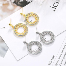 KOFSAC Latest Trend Stud Earrings 925 Sterling Silver Jewelry For Women Zircon Round Hollow Earring Female Party Accessories Hot