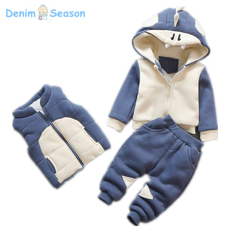 Denim Season Winter Boy Sweatshirts Cashmere Thicken Warm Korean Cute Carton Kid Hoodies Causal Sport Children Clothes Set 3pcs пена монтажная mastertex all season 750 pro всесезонная