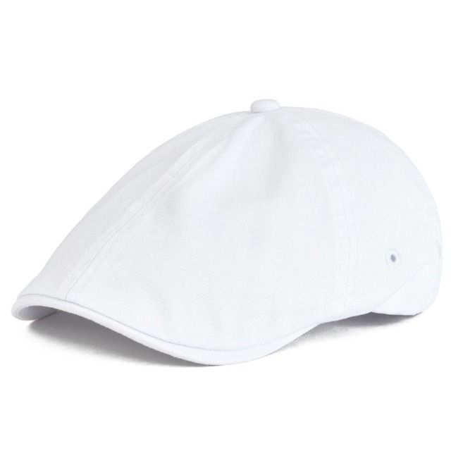 VOBOOM Twill Cotton Ivy Flat Cap Men Women White Casual Driver Cabbie  Elastic Adjustable Boina Berets Summer 062 dd8459979c02