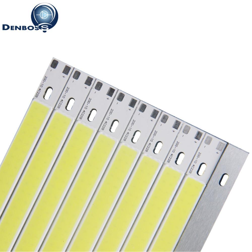 Купить с кэшбэком LED COB 200mm 10mm 12v cob led Strip light bulb source 10W Warm Nature White Blue Red Green Yellow FLIP Chip for auto light DIY