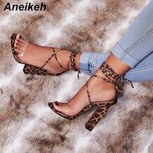 Aneikeh/; Модные женские Босоножки на каблуке; туфли-лодочки с ремешком на щиколотке с леопардовым принтом; женские туфли для вечеринок на очень высоком квадратном каблуке 11 см