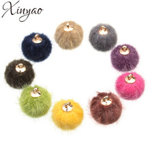 XINYAO 24pcs/lot 15mm Fur Ball Charms Fit Earring Necklace Bracelet Pompon Beads Pendant For DIY Jewelry Making Findings