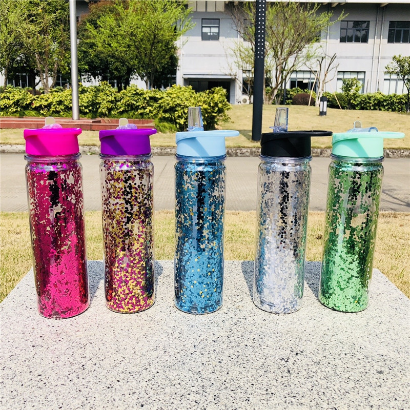 2018 New 750ML Double Wall Plastic Sports outdoor my water bottle Sequins gold Stardust Portabel straw kettle with handle