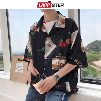 Lappster Men Vintage Korean Fashion Shirts 2020 Summer Casual Streetwear Shirt Mens Hawaiian Shirt Regular Fit Loose Funny Shirt Buy At The Price Of 17 08 In Aliexpress Com Imall Com