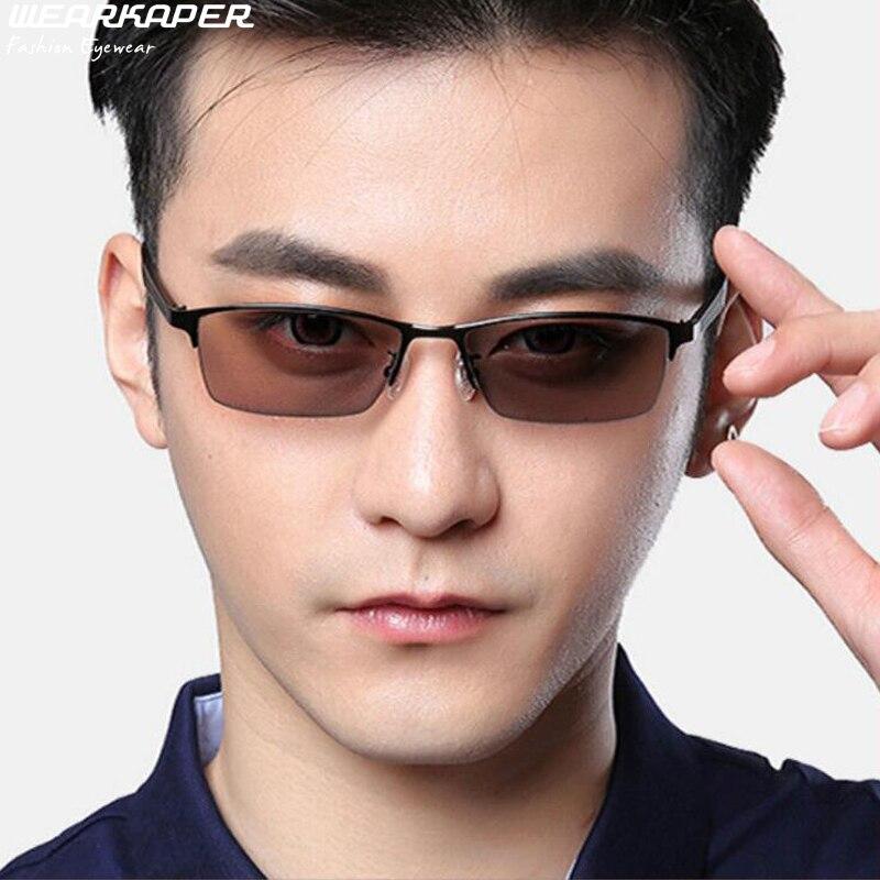 WEARKAPER Progressive Multifocal glasses Transition Photochromic Reading Glasses Men Points for Reader Near Far sight diopter