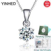 Sent Silver Certificate ! YINHED 100% 925 Sterling Silver Jewelry 6 Claws Round Cubic Zirconia Pendant Necklace for Women ZN136