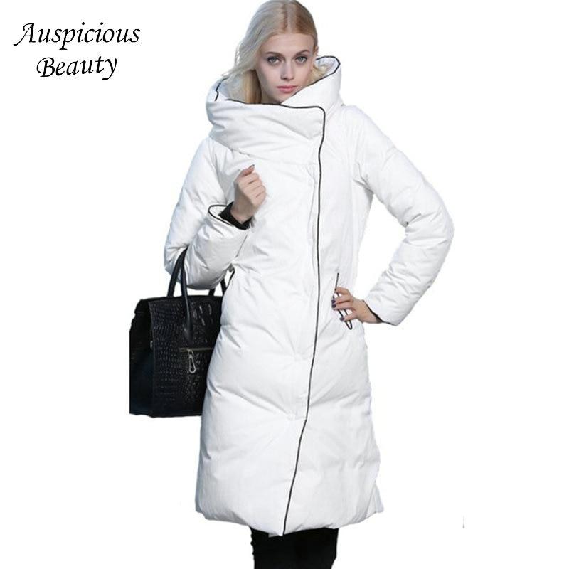 2017 Winter Duck Down Coat Women Hot Padded Long Parkas Hooded Black White Slim Warm Thicken Jacket Femme Overcoat TSL125