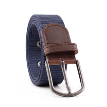 цены HUOBAO Fashionable Elastic Canvas Belts for Women Knitted Buckle Adjustable Belt Male Canvas Belts for Jeans