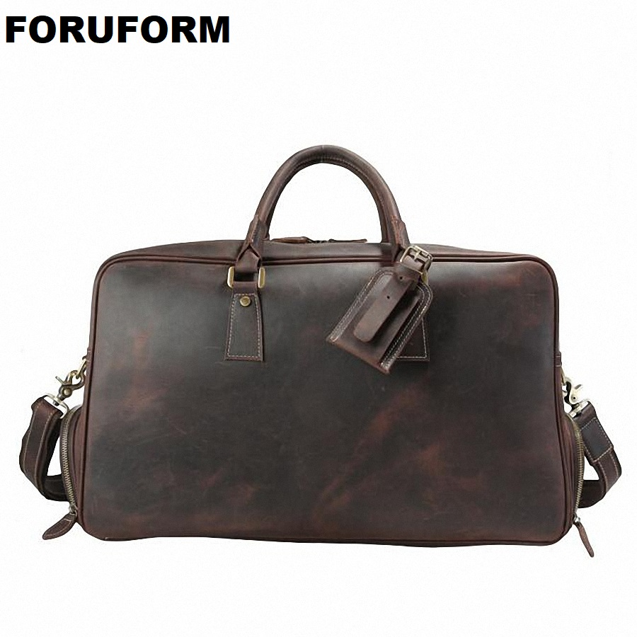 2018 Vintage Crazy Horse Genuine Leather Travel Bag Men Duffle Bag Luggage Travel Bag Large Weekend Bag Overnight Tote LI-1828 7077r crazy horse leather unisex dark brown huge luggage bag tote bag travel bag