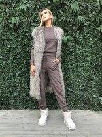 Модный комплект из 2018 шерсти, Новый кашемировый вязаный свитер, брюки, спортивные костюмы женские из двух предметов, топ и штаны