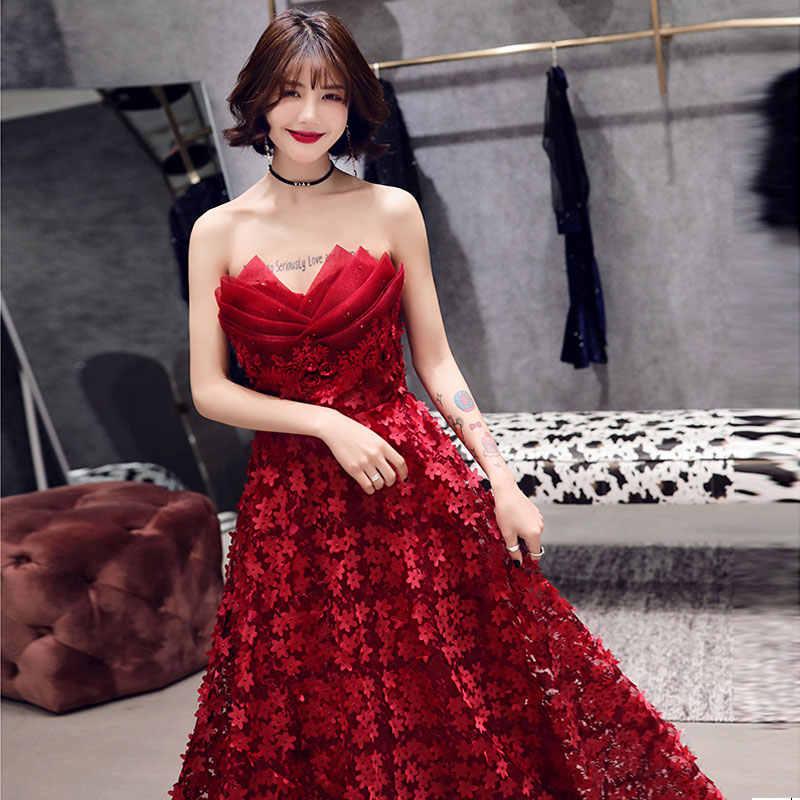 Модное Новое поступление, вечерние платье, вечернее платье Vestido de Festa robe de soiree, 3d-цветы, кружево, лепестки роз, robe longue femme