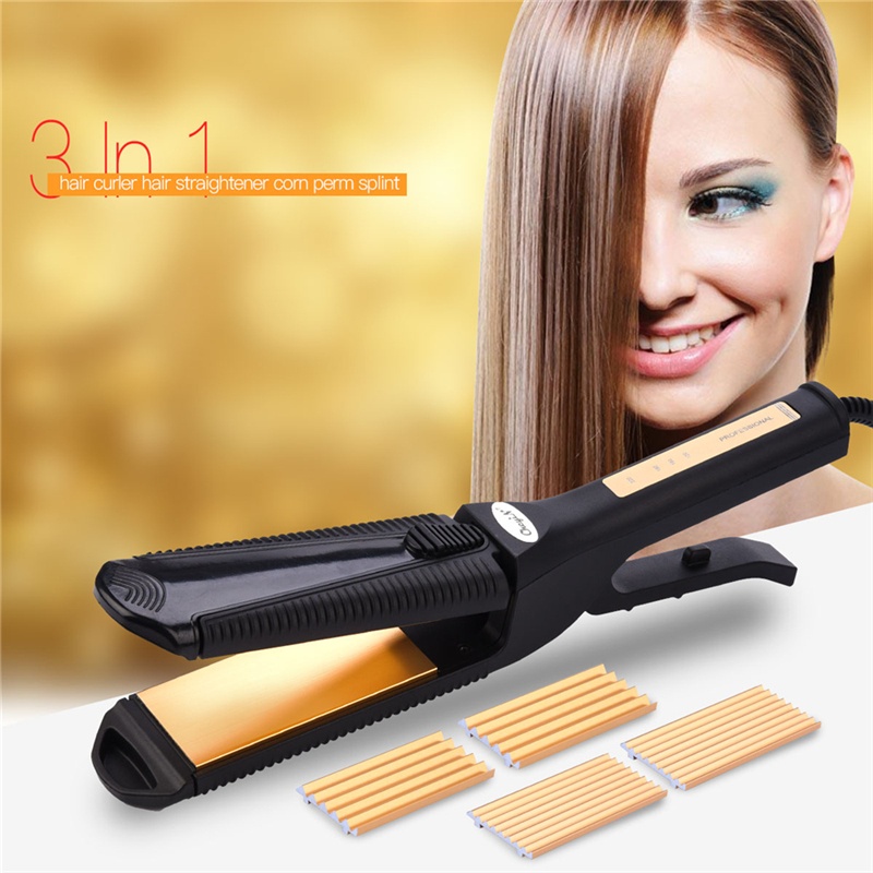 Interchangeable 3 In 1 Titanium Hair Straighteners Curlers Corn Plate Corrugated Crimper Waves Straightening Iron Styling Tools