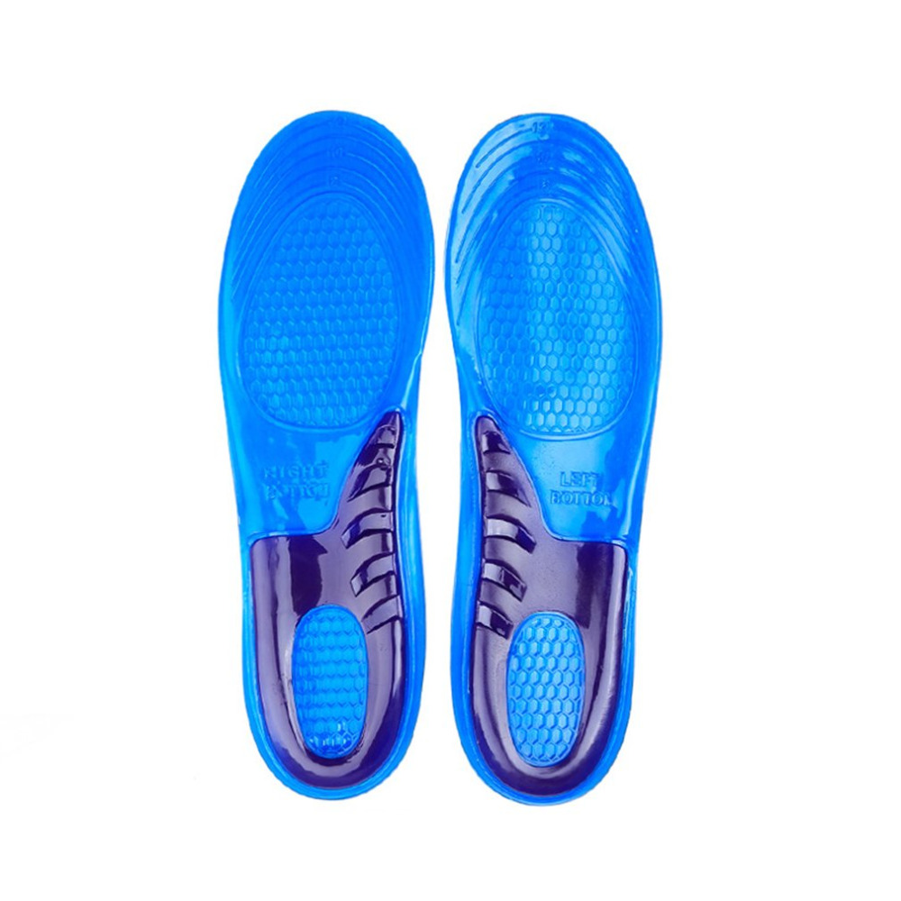 1 pair Soft Elastic Silicon Gel Insoles Shock Absorption Comfortable Running Sport Insoles Cushioning Insole Foot Care Pads