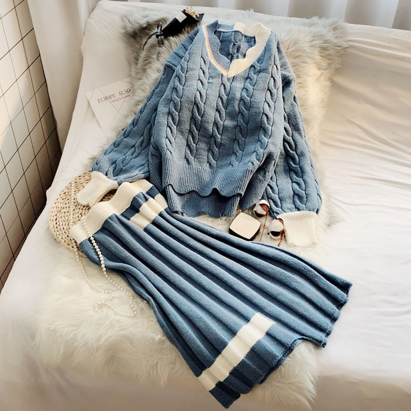 2019 New Women 2 Pieces Skirts Sets Ruffles V-neck Lantern Sleeved Knitted Sweaters And Pleated Loose Skirts Lady Elegant Suits