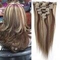 #8/613 cor de Piano grampo em extensões do cabelo de remy do Brasileiro humanos hair15-22inch 7 pcs definir grampo de cabelo humano em extensões para a senhora
