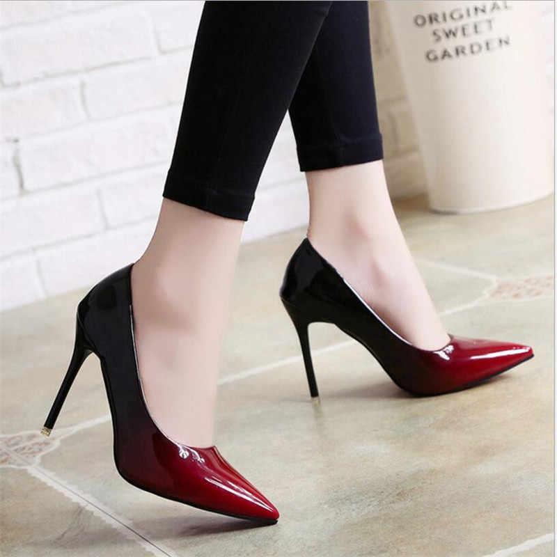 2019 gölge kadın ayakkabı sivri burun pompaları rugan elbise şarap kırmızı 10CM yüksek topuklu bot ayakkabı düğün ayakkabı zapatos Mujer