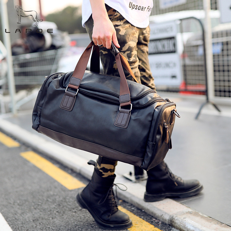 LAPO Large Capacity Patchwork Men Travel Bag Waterproof Duffle Bag Man Leather Casual Mens Travel Handbags Luggage Shoulder Bags simline new vintage casual genuine leather cowhide men mens large capacity travel backpack shoulder bag bags backpacks for man