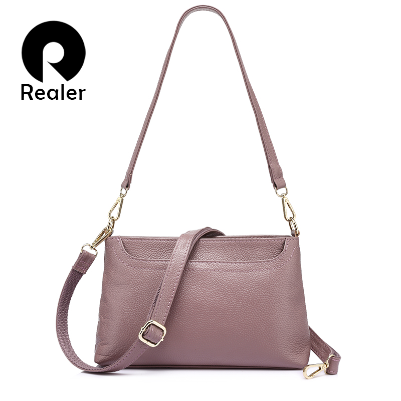 REALER women shoulder messenger bags genuine leather handbag female fashion crossbody bag ladies solid small tote bag purse women bags handbag female tote crossbody over shoulder sling leather messenger small flap patent high quality fashion ladies bag