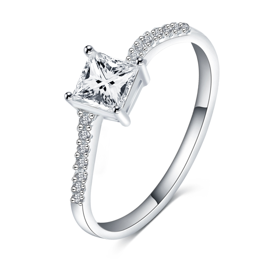 New Style Classic Princess Cut Cz Diamond Shank Brand Engagement Ring For  Women Wedding Lovers Rings