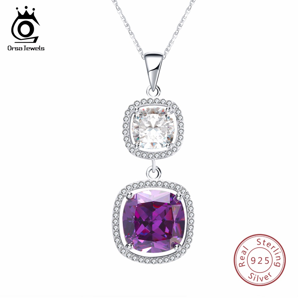 где купить ORSA JEWELS 925 Pedants And Necklaces Women Sterling Silver Big AAA Cubic Zircon Female Necklace Fashion Party Jewelry SN69 по лучшей цене