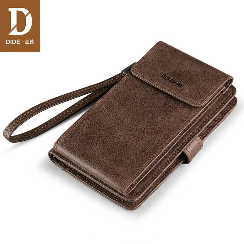 DIDE Cowhide Wallet Pocket Purses Coin-Phone Vintage Large-Capacity Real-Leather Genuine