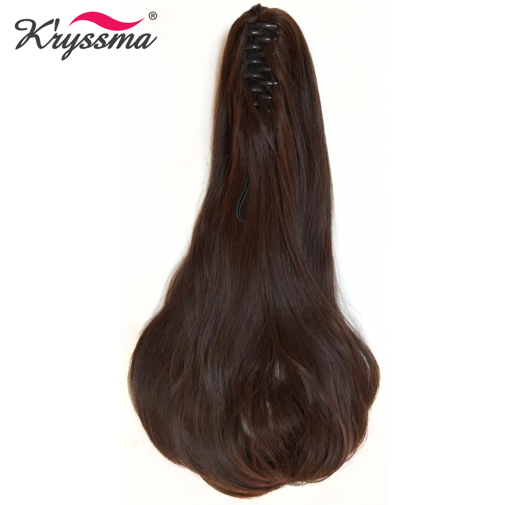 Kryssma Claw Ponytail Long Wavy Synthetic Pony Tail One Piece Hair Extensions Easy to Wear Hidden Invisible 2 Colors Daily Wear ...