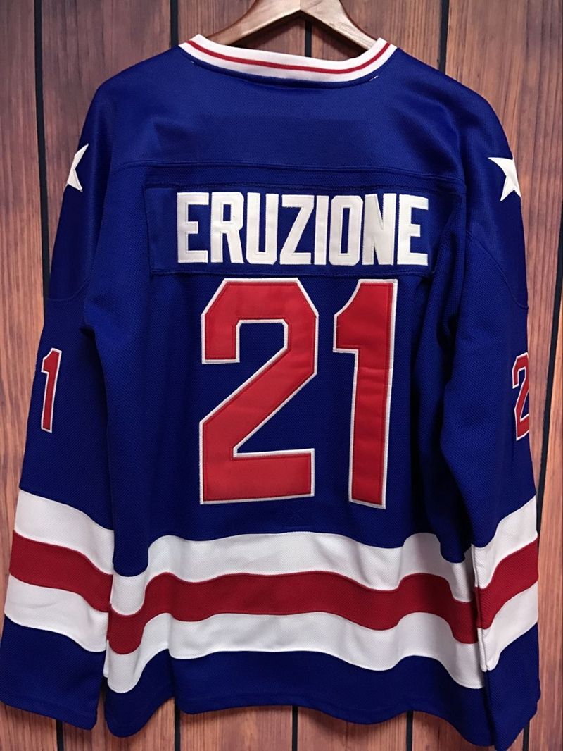 Prix pour EJ Mike Eruzione #21 1980 Miracle Sur Glace Film Piqué Hockey Jersey BLEU