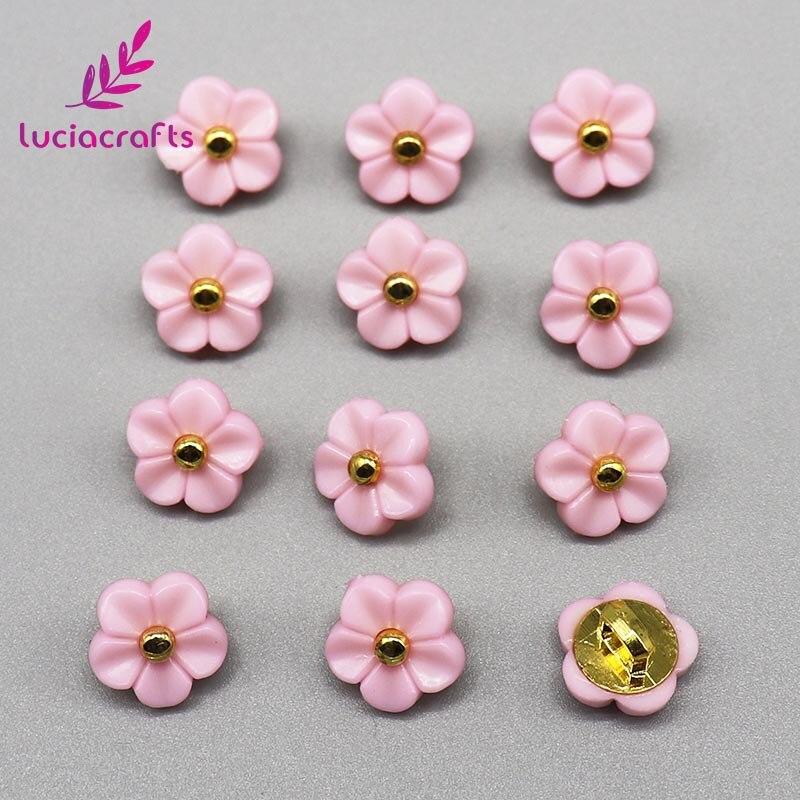 Lucia crafts, 12 шт./лот, 11 мм, цветочные пуговицы, сделай сам, для шитья одежды, пластиковая смола, хвостовик, кнопка, аксессуары для скрапбукинга, E0505 - Цвет: Pink