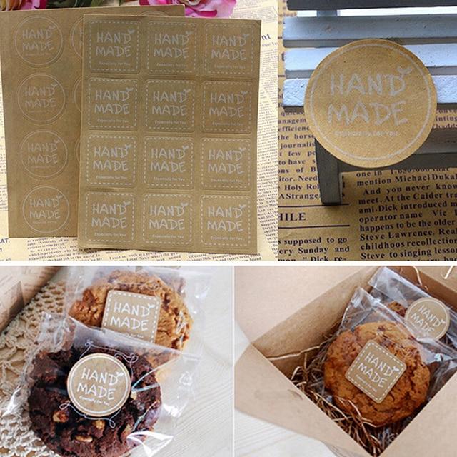 Redondo cuadrado blanco hecho a mano pegatinas Kraft etiqueta adhesiva DIY hecho a mano para regalo pastel para hornear pegatina 120 piezas/ 10 hojas