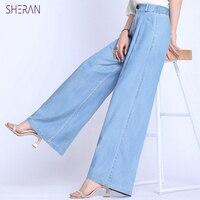 13f0cdc60fc9 2019 Hot Pants Womens Wide Leg High Waist Jeans Ice Silk Denim Pants Summer  Loose Tencel