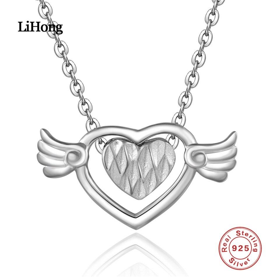 100% 925 Sterling Silber Halskette Liebe Herz Anhänger Silber Kette 18-zoll Frauen Marke Schmuck Hochzeit Geschenk Fabriken Und Minen