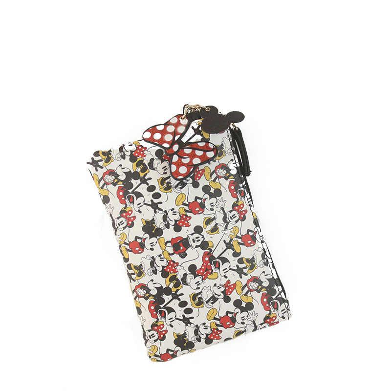 Disney Mickey Mouse Portabel Pena Pensil Kartun Pu Tas Penyimpanan Anak Laki-laki dan Perempuan Anak Mahasiswa Hadiah Koin Case Wanita Dompet