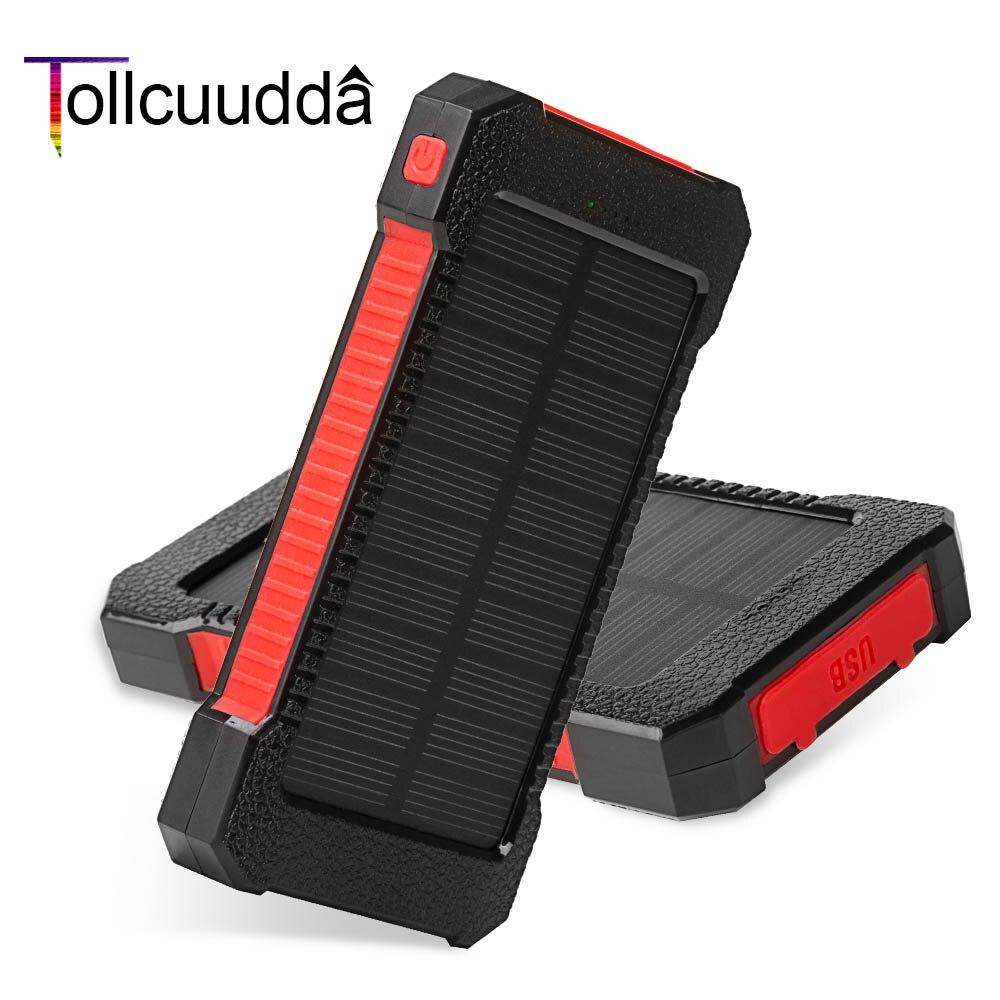 imágenes para Tollcuudda Venta Caliente Poverbank Impermeable Banco de la Energía 10000 mAh Cargador Solar de Batería Externa Cargador Portátil Para Xiaomi Iphone6s