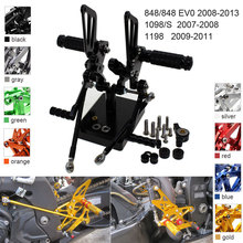 CNC Aluminum Adjustable Rearsets Foot Pegs For Ducati 1098 1098S 1198 848 EV0 2008 2009 2010 2011 2012 2013 cnc motorcycle parts rearsets foot pegs rear set for benelli bj600gs 2010 2011 2012 2013 red color