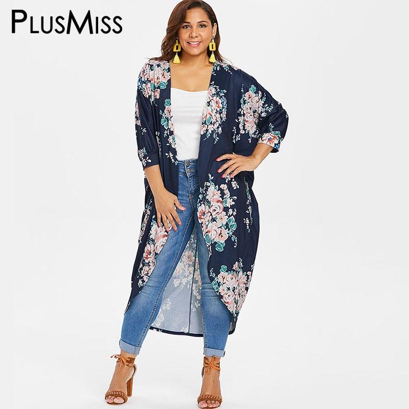 PlusMiss Plus Taille XXXXL XXXL Floral Fleur Imprimer Cardigan Manteaux Femmes Boho Plage Lâche Long Manteau Femme Grande Taille Automne automne