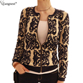 Tangnest impreso thin sweater coats for women 2017 cierre de cremallera corta capa de la manera del otoño del o-cuello de la rebeca wwk076