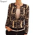 Tangnest impresso fina camisola casacos para mulheres 2017 curto zipper encerramento brasão moda outono o-pescoço cardigan wwk076