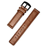 BREAK Brown Genuine Leather Watch Strap For Men Women 20mm Genuine Leather Watch Band